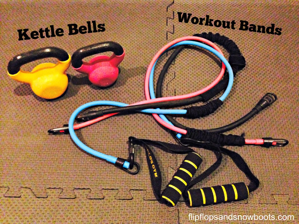 kettle bells and workout bands