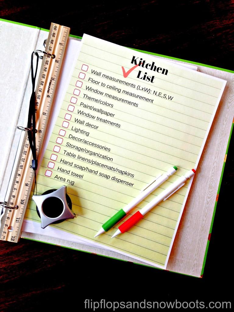 Kitchen list in binder with wm