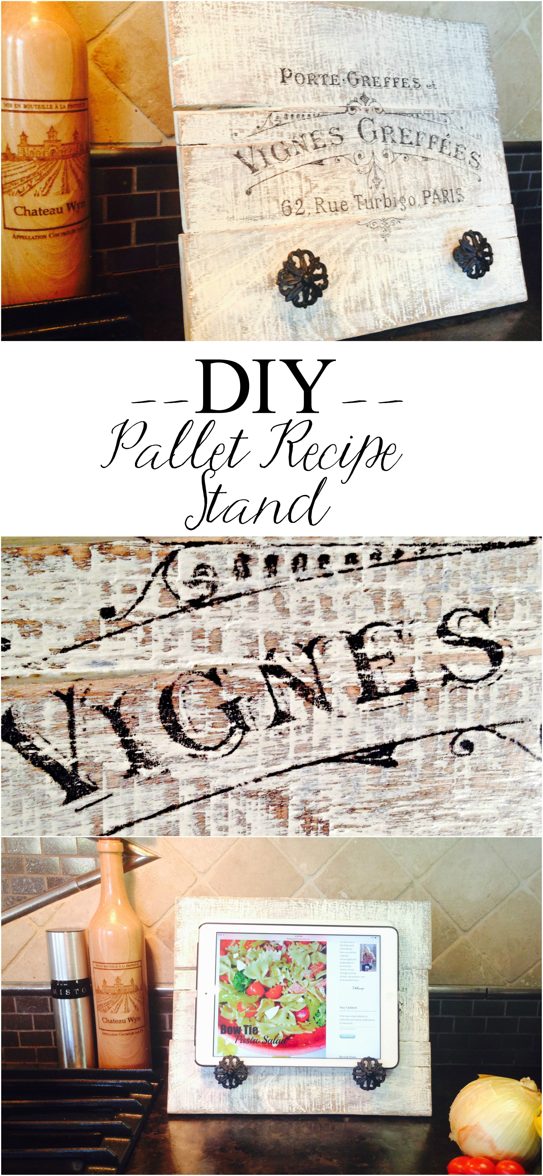 Make your own Pallet Recipe Stand and use stylish drawer knobs to rest a cookbook or tablet. Personalize it using the parchment paper graphic transfer method. Having a recipe stand is a great way to keep track of your recipe while cooking amongst the chaos in the kitchen.
