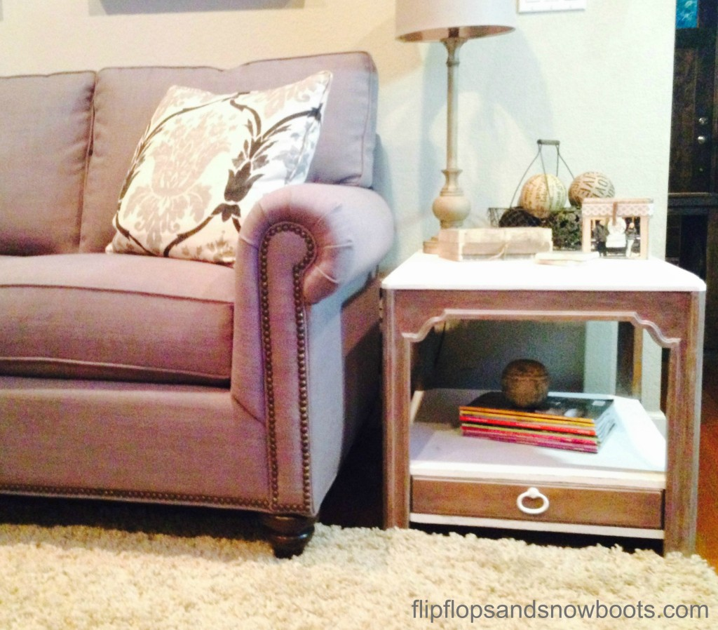 two toned end table makeover