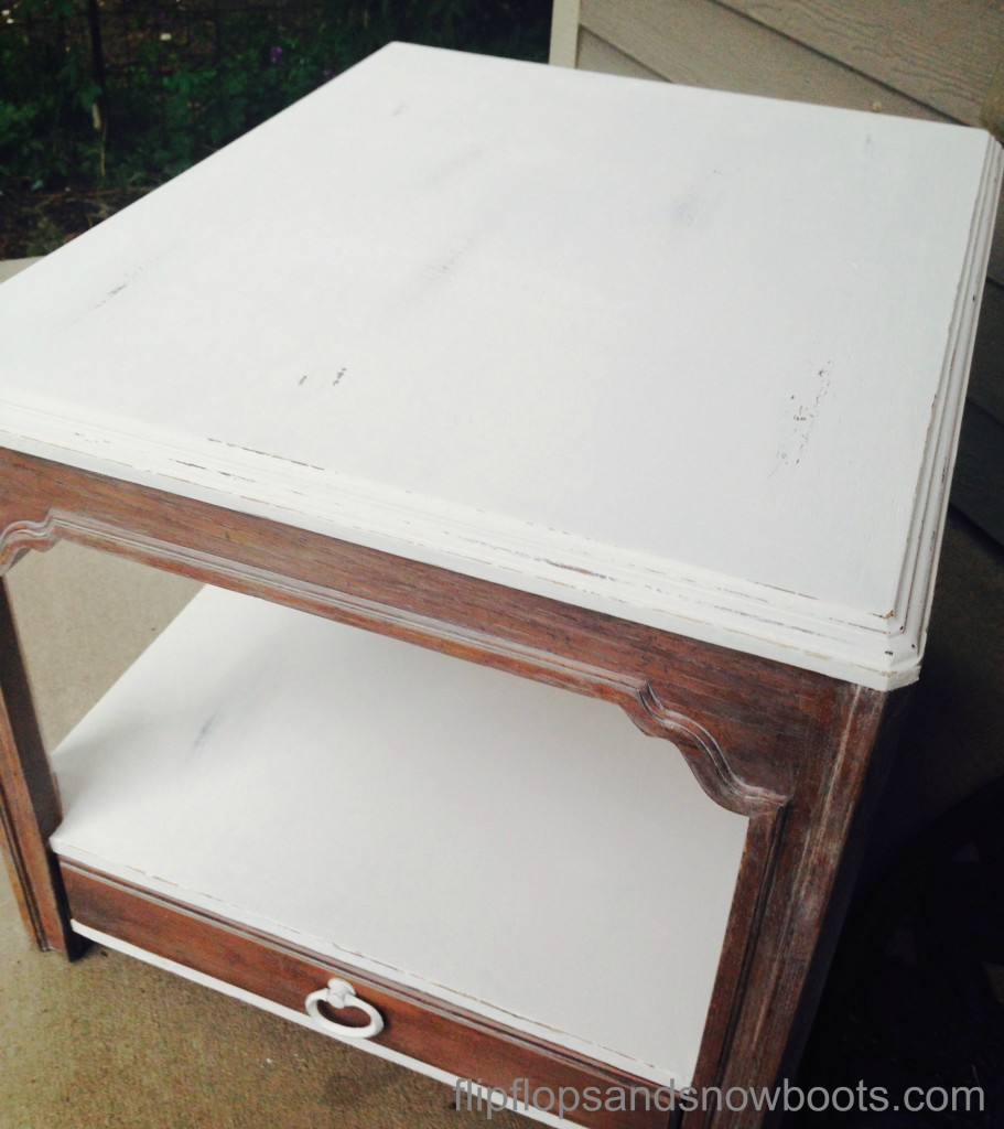 two toned end table with wm