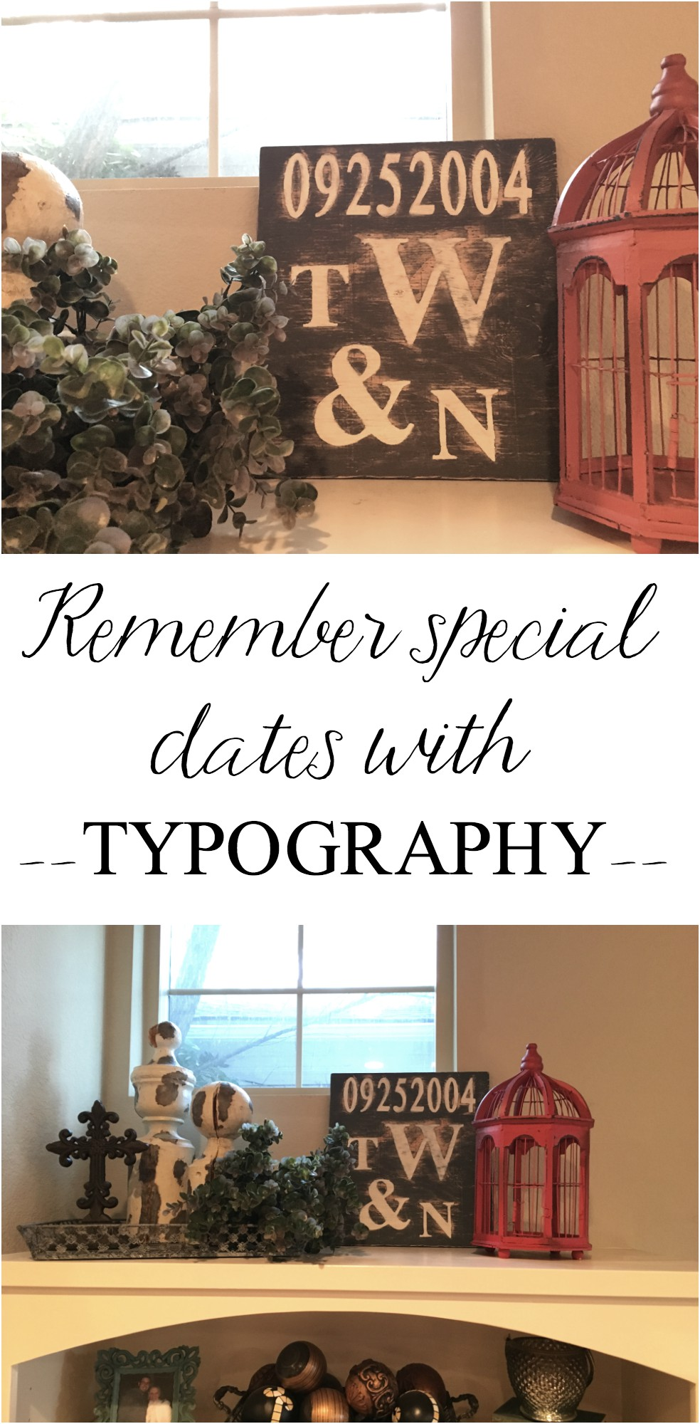 Make your own typography to commemorate special dates like anniversaries, birthdays, etc. Easy and cheap project using scrap wood.
