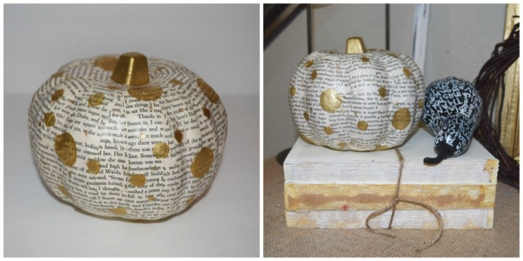 Book Pages Gold Polka Dot Pumpkin