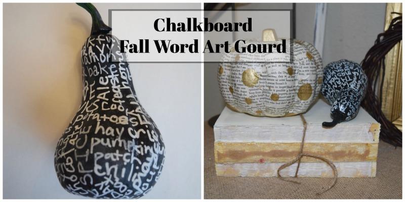 Chalkboard Fall Word Art Gourd