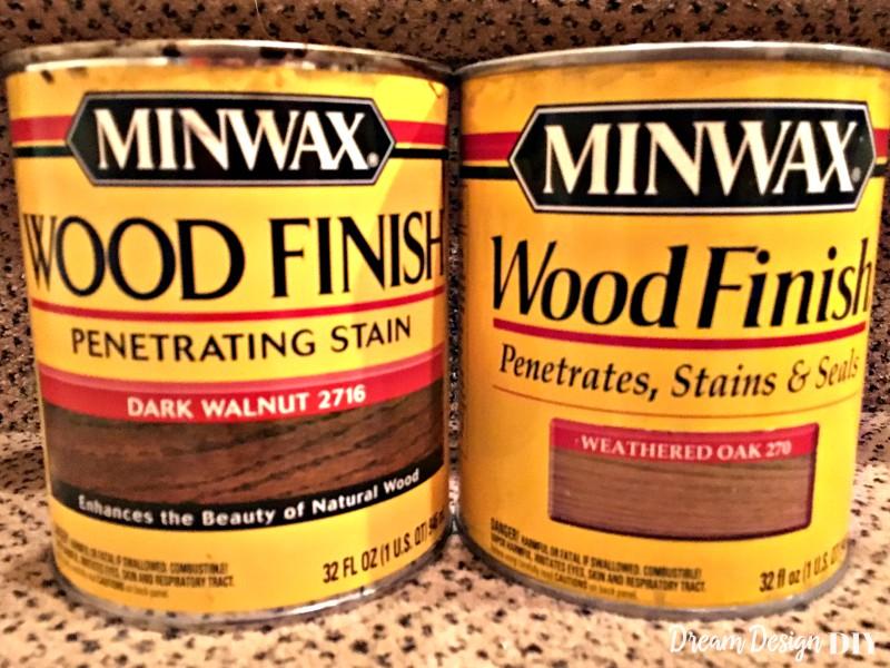 dark walnut and weathered oak stain