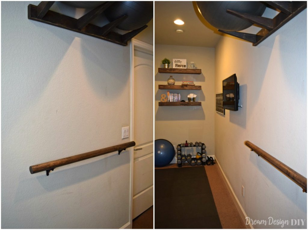 This tutorial shows you how to make and install a wall mounted wood ballet barre. A ballet barre is a great addition to a home gym #balletbarre #diy