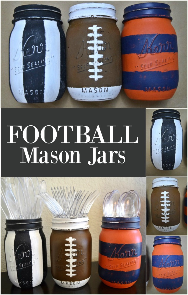 I want these for my next football party! What a great way to show my favorite team colors and store silverware. I have several mason jars laying around. I am so doing this.