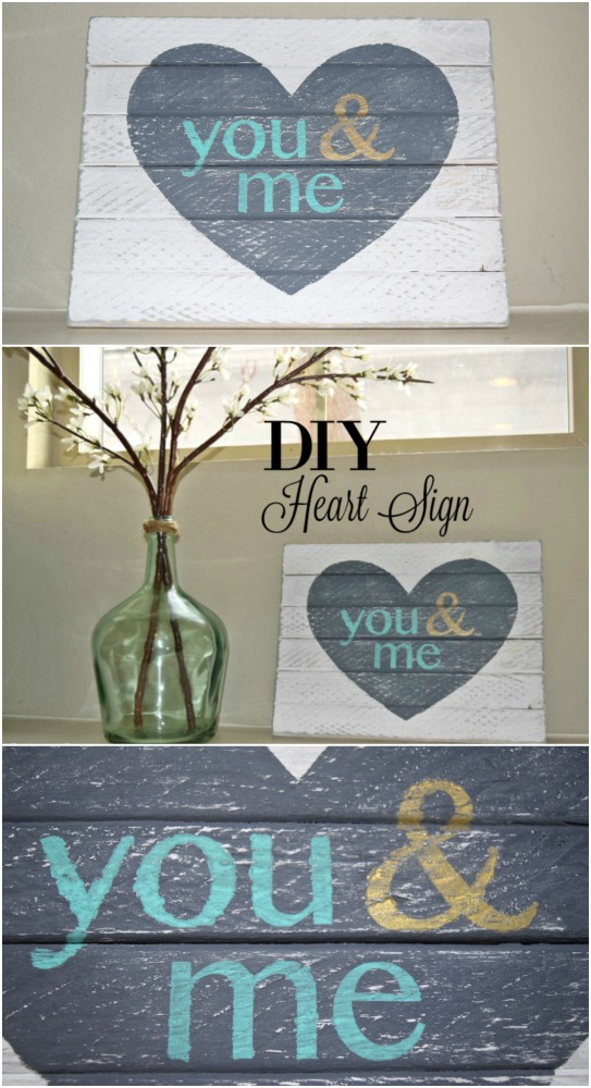Check out this easy DIY sign you can make with just a few pieces of wood and minimal tools. Great anniversary or valentine's gift.  Great decor for a bedroom.