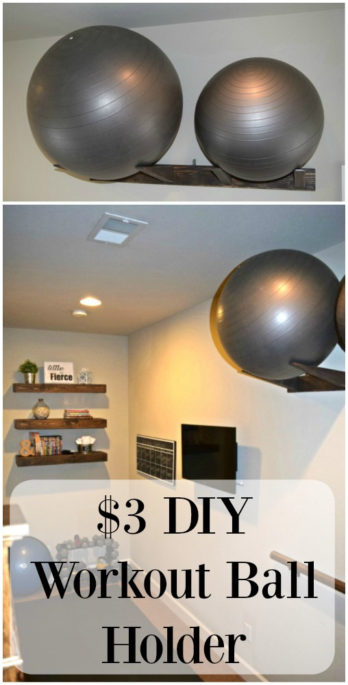 Workout balls can take up floor space in a gym area. Get the step by step tutorial on how to make this Workout Ball Holder made from one 2x4. Cost is around $3 and you will do jumping jacks when you see how much extra workout space is available.