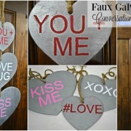 Faux Galvanized Conversation Heart Door Hanger