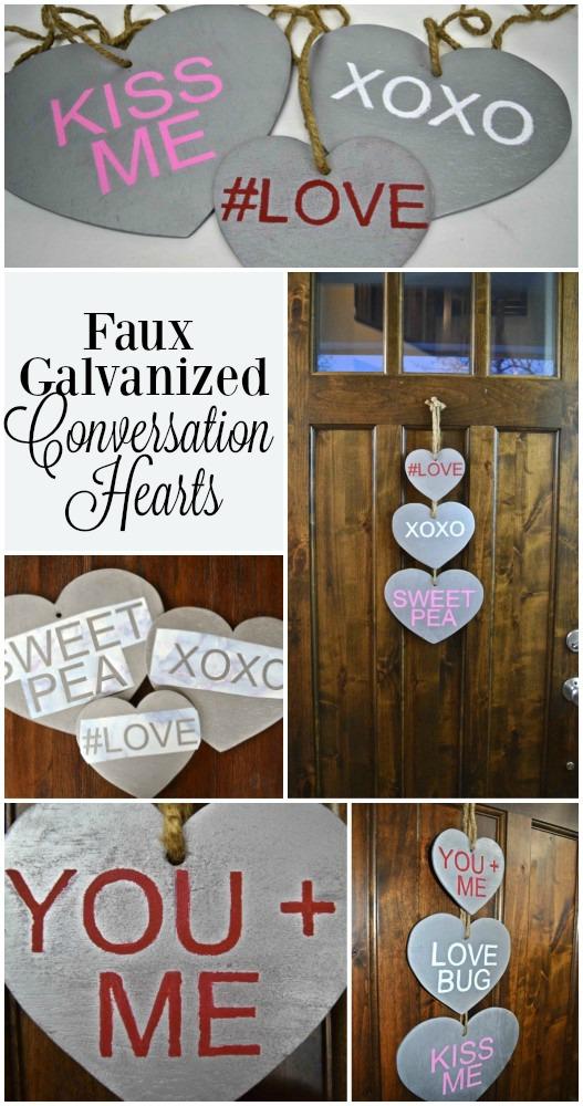 faux galvanized conversation hearts