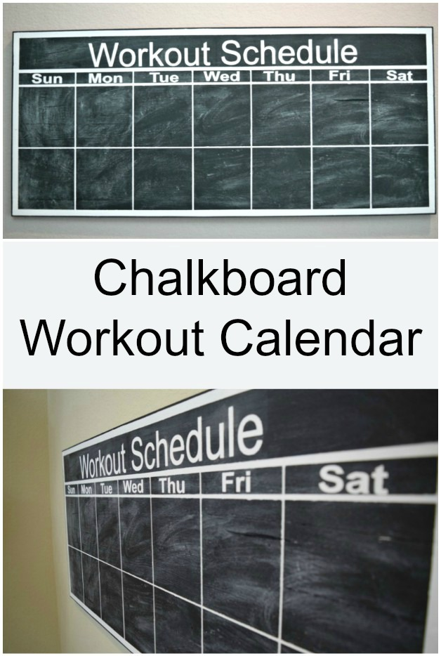 Keep your workouts better planned and organized with this DIY Chalkboard Workout Calendar. Requires very little tools. Click to see the whole tutorial.