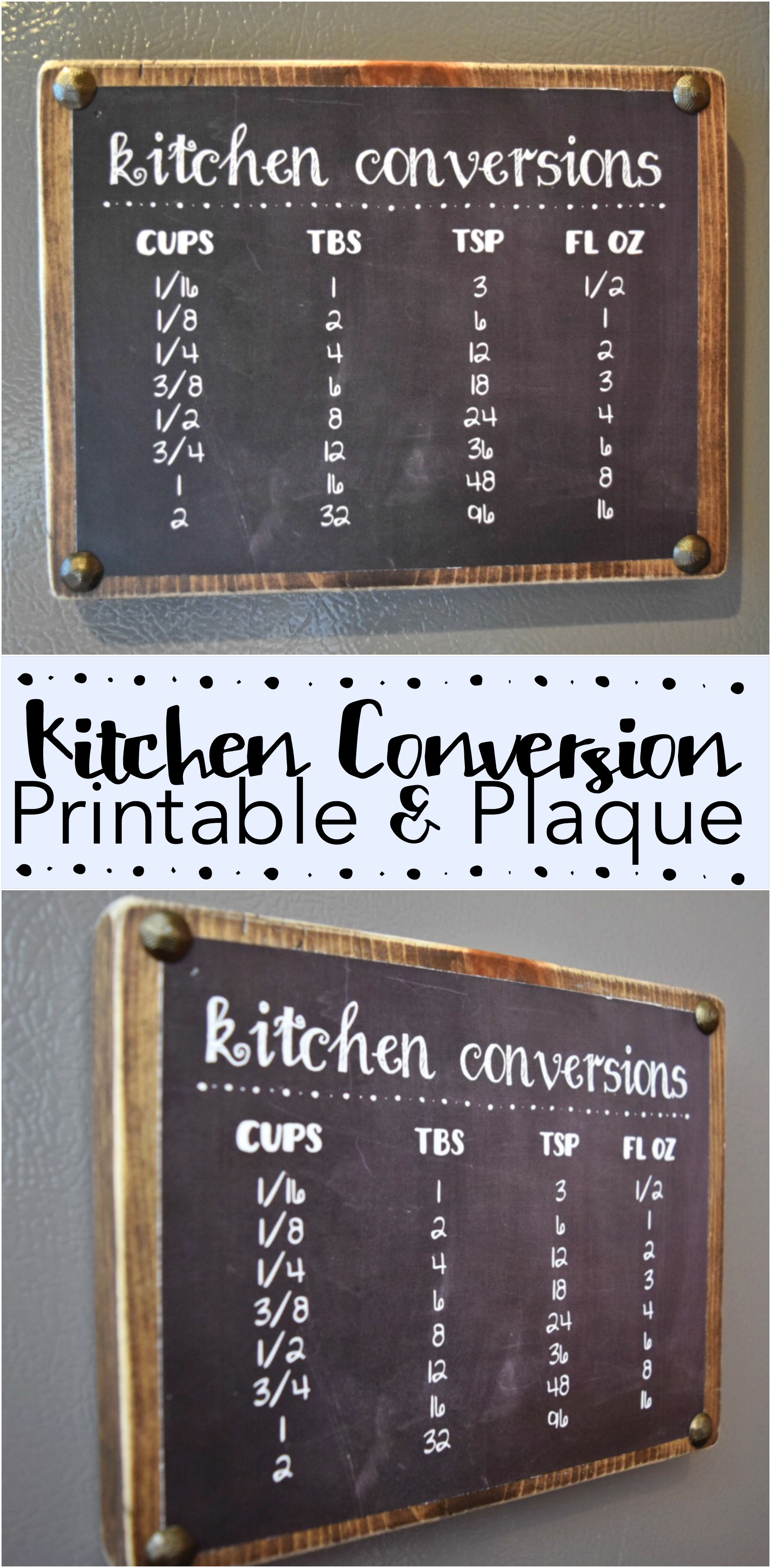 Get help in the kitchen with this CUTE Kitchen Conversion Printable and Plaque DIY. Great gift for moms or a house warming gift. Get the printable FREE for a limited time!
