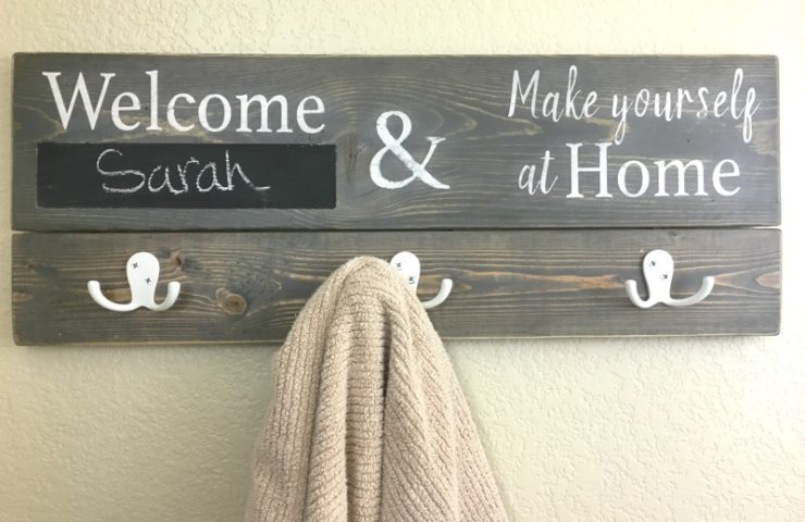 Personalized Bathroom Sign Towel Holder