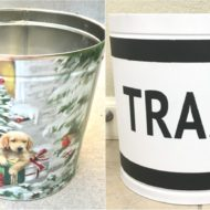 Christmas Tin to Trash Bin Upcycle