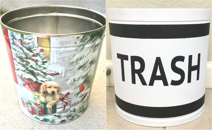 Christmas Tin to Trash Bin Upcycle
