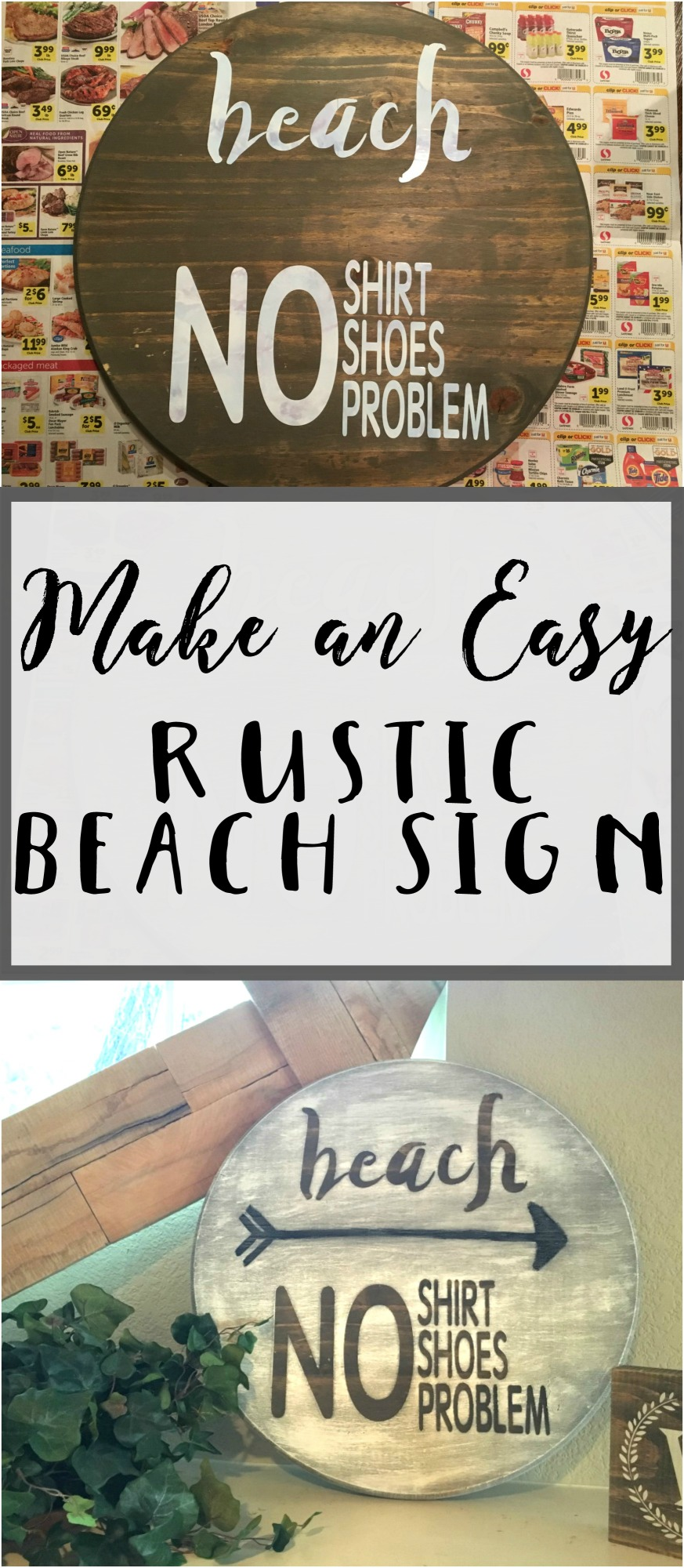See how to make an easy rustic beach sign using a premade round wood piece and a stencil. Add some summer beach lovin to your decor.