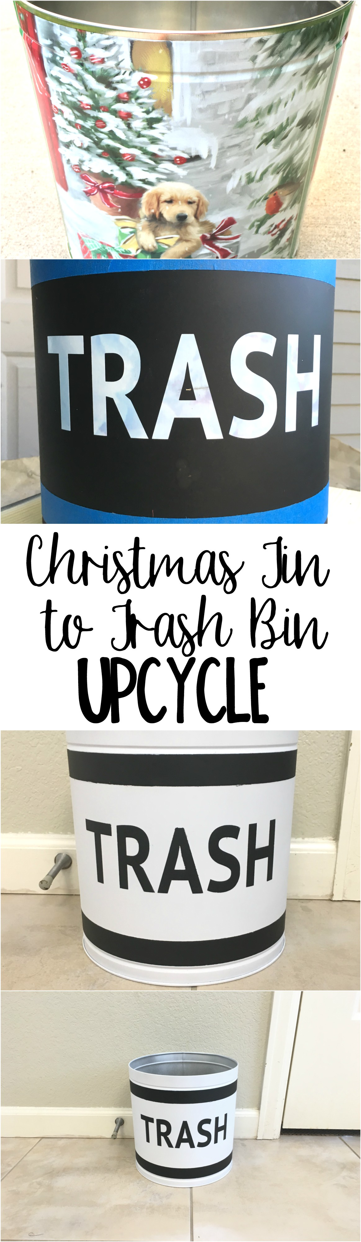 Here is the perfect solution for your leftover popcorn tins! Turn it into your own customizable trash bin. Great upcycle!
