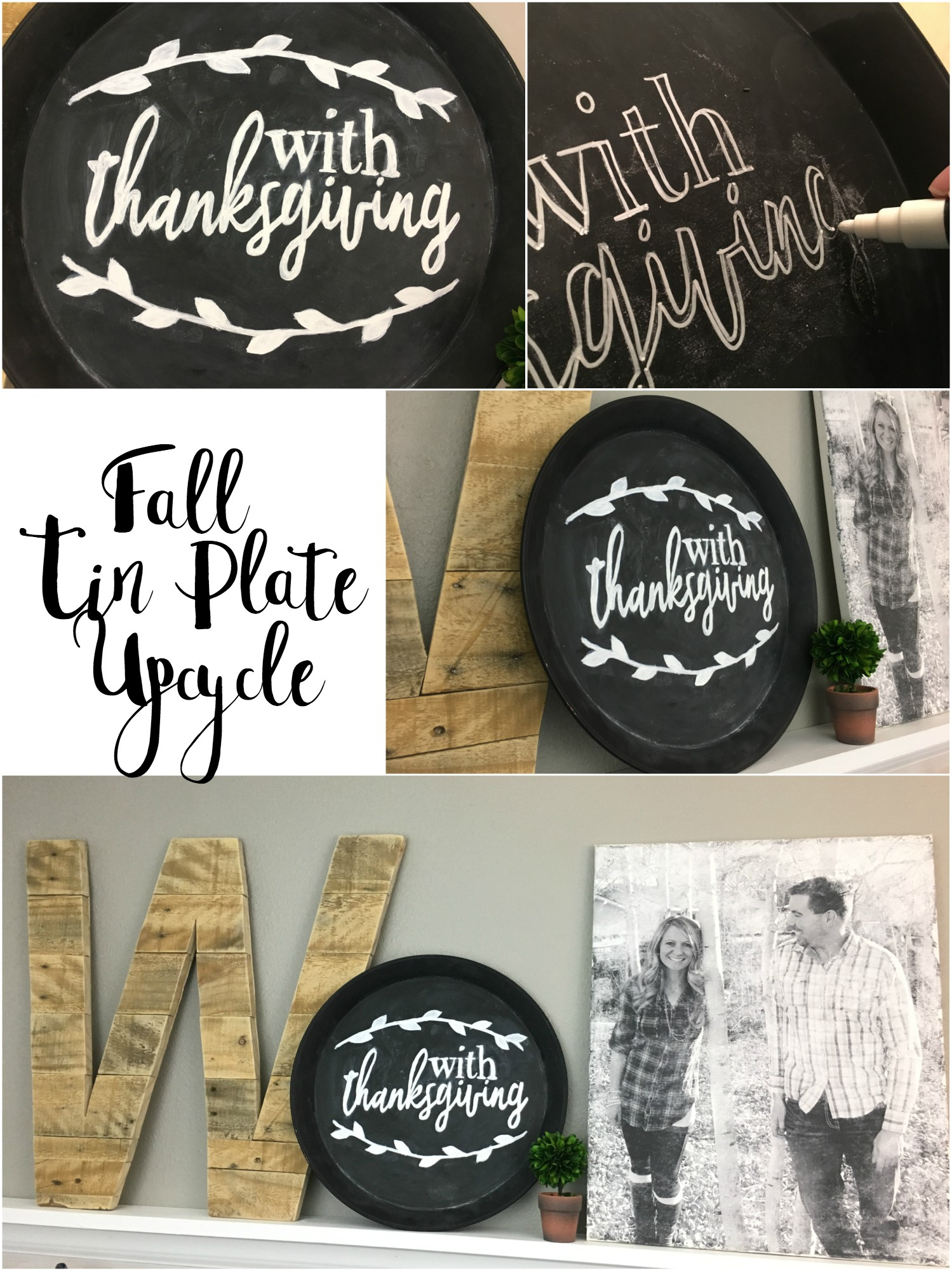 Thrift store upcycle a tin plate to make an easy fall and Thanksgiving decoration. Easy and super cheap.