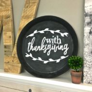Thrift Store Tin Plate Upcycle for Fall and Thanksgiving Decorating