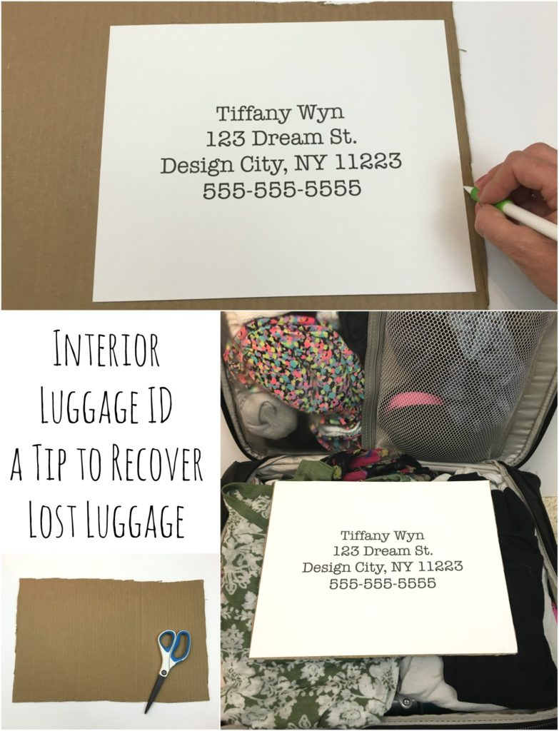 Wow what a great idea! Make a luggage ID that goes inside my luggage. Help with stress free traveling.