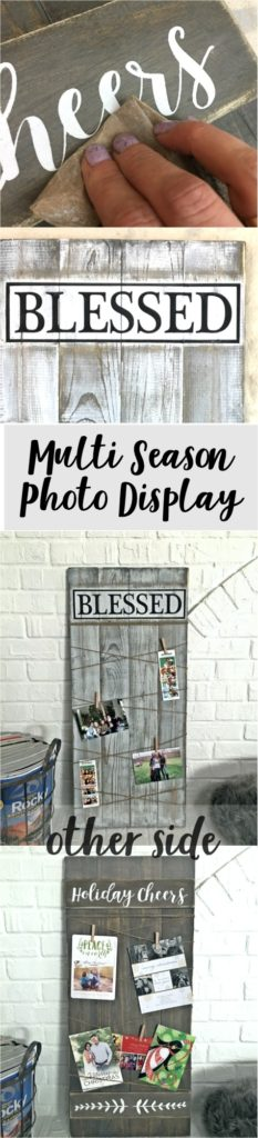 Oh my gosh so cute! What a great way to display photos. I can use all year and flip it over for Christmas, love it!