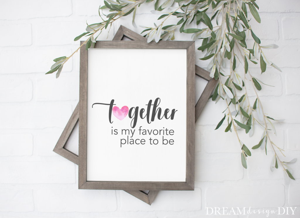 Get FREE Valentine's Day Printables. Printables are quick, cheap and easy art that can be changed out for the changing seasons and holidays. These are the perfect size to pop them in an 8 x 10 frame and add to your decor. #valentinesprintables #valentinesdayprintables #printables #freeprintables