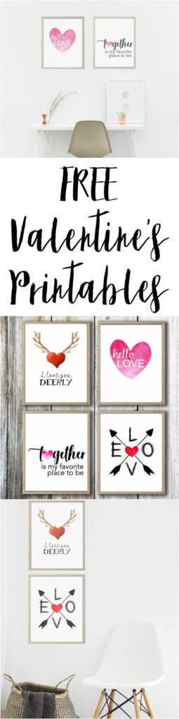 Oh yah! I love FREE printables. These make the perfect Valentine's decor.