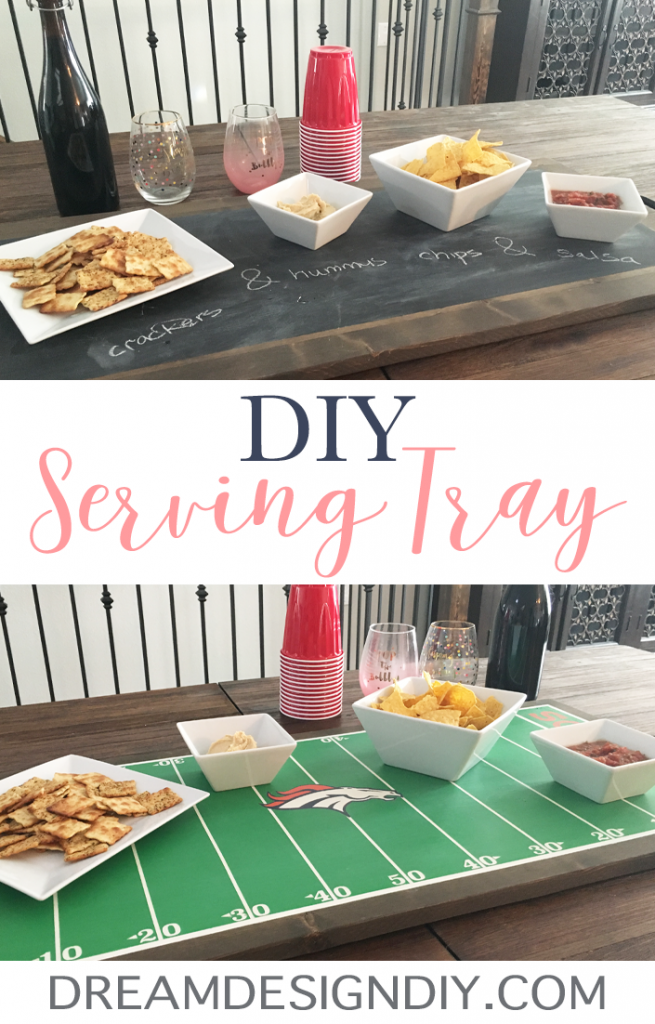 This post shows you how to make an easy wood DIY Serving Tray with attached handles and no saw needed. There is chalkboard paint on one side and a football theme on the other side. Paint these with any theme or ideas your can come up with to suit your style. #diyservingtray #diy #woodprojects #football #chalkboardprojects #chalkboardpaint