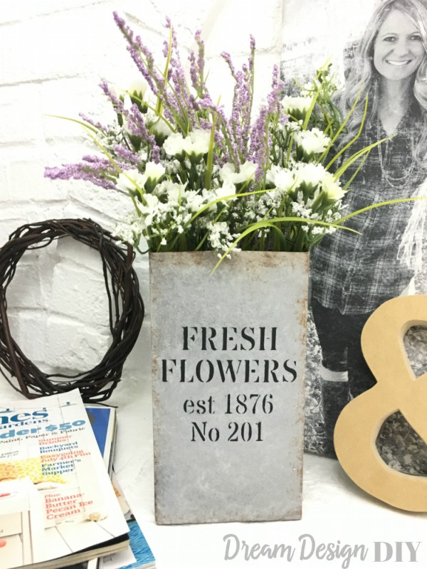 Fresh Flowers Vase Faux Galvanized Finish Dream Design Diy