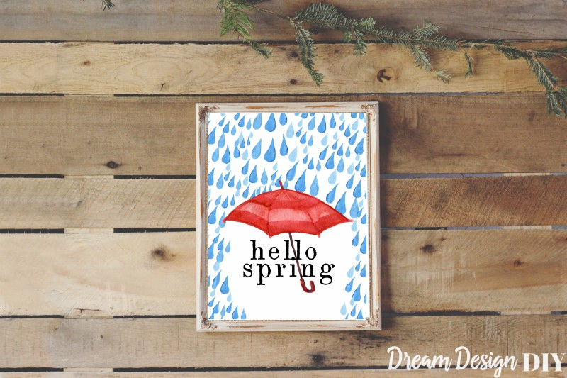 Get FREE Spring Printables. Printables are an easy and cheap way to decorate. You can pop these in an 8 x 10 frame and you will have decorations for spring. Watercolor flowers, rain, and umbrellas are a great reminder of all that spring brings. #printables #spring printables