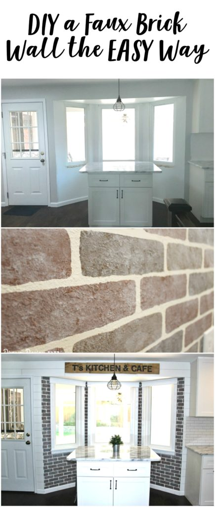 I love brick walls! What an easy way to get the look of brick.