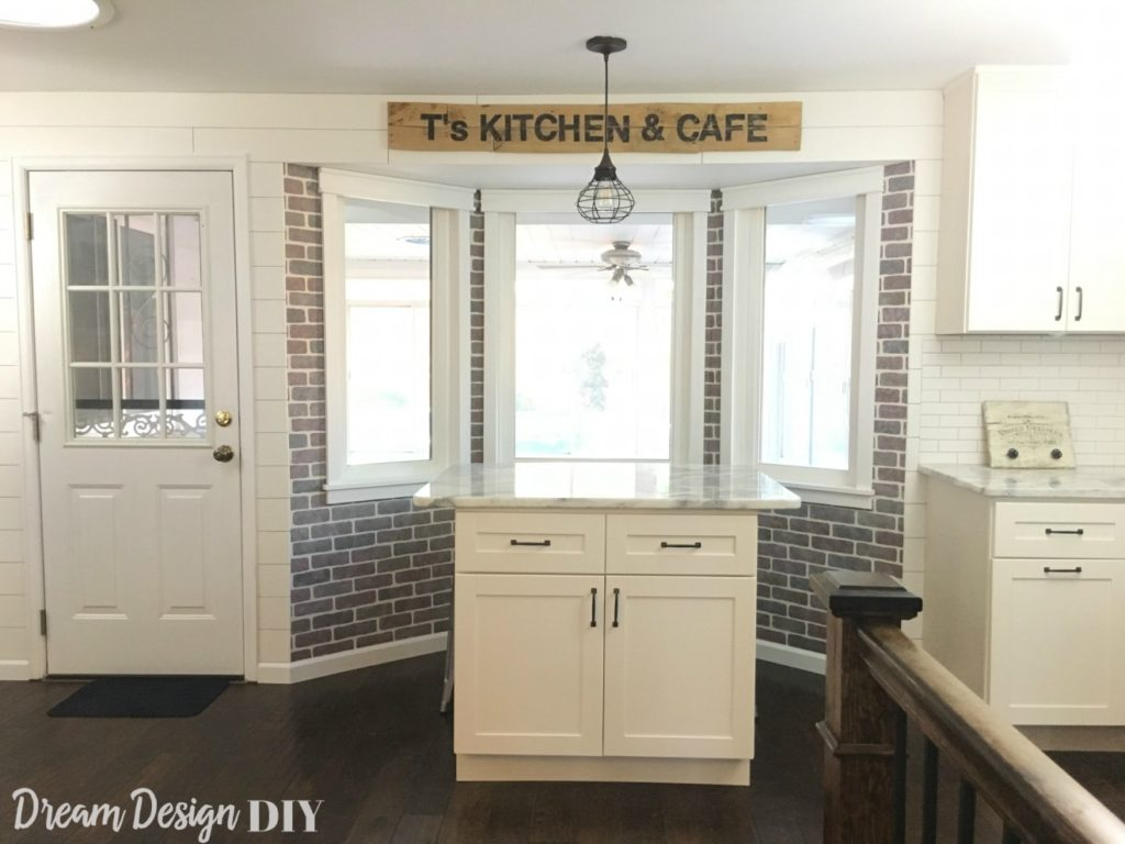 how to shiplap a bay window dream design diy for this space i also made a faux brick wall window trim and a pallet sign