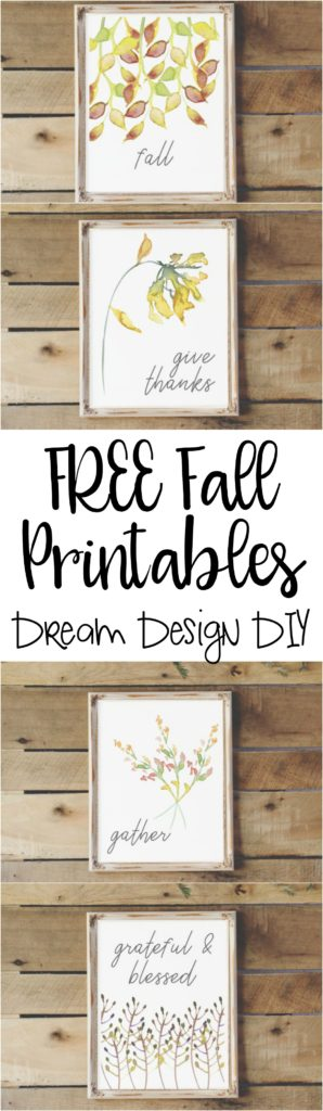 5 FREE Printables for Fall. A quick and budget friendly way to decorate.