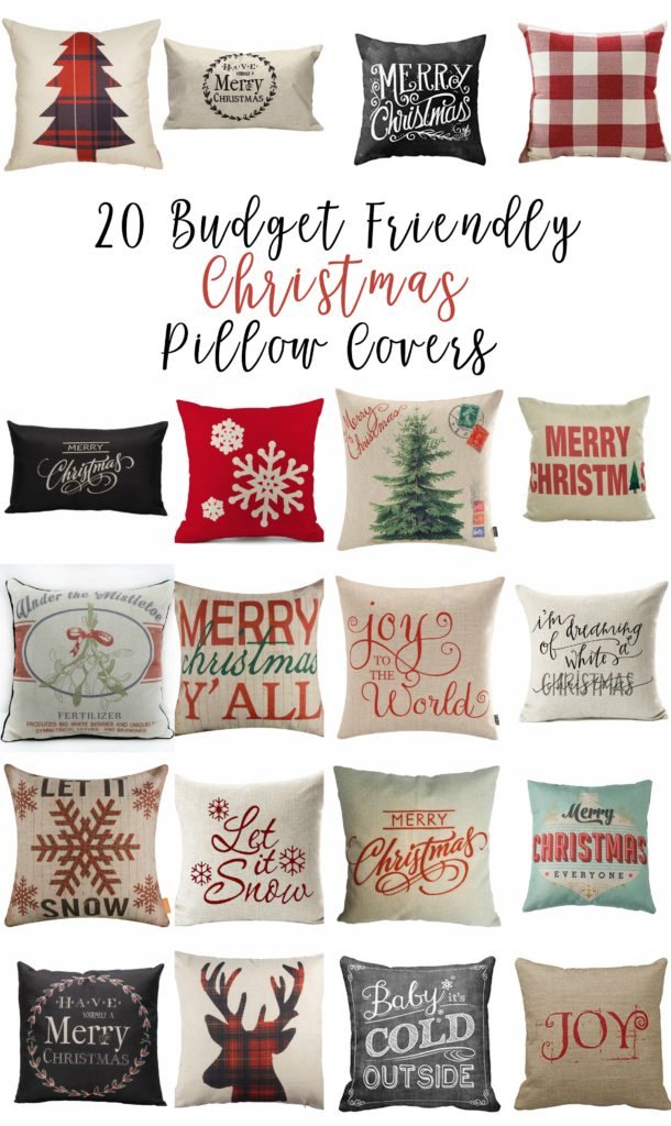 Here is a great selection of Christmas pillow covers most under $10 and some under $2. Happy decorating.
