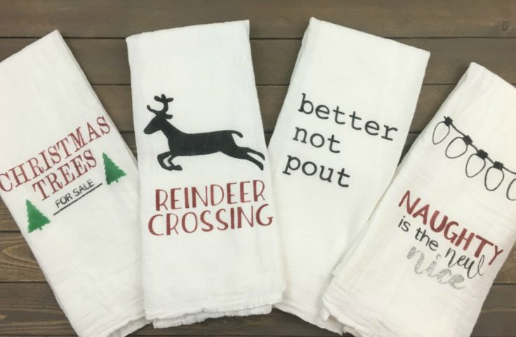 DIY Stenciled Christmas Kitchen Towels with FREE Images