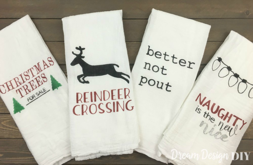 Diy stenciled christmas kitchen towels with free images dream holidays into your home these christmas kitchen towels are perfect with only costing 4 for four towels you can gift them and make some for yourself solutioingenieria Choice Image