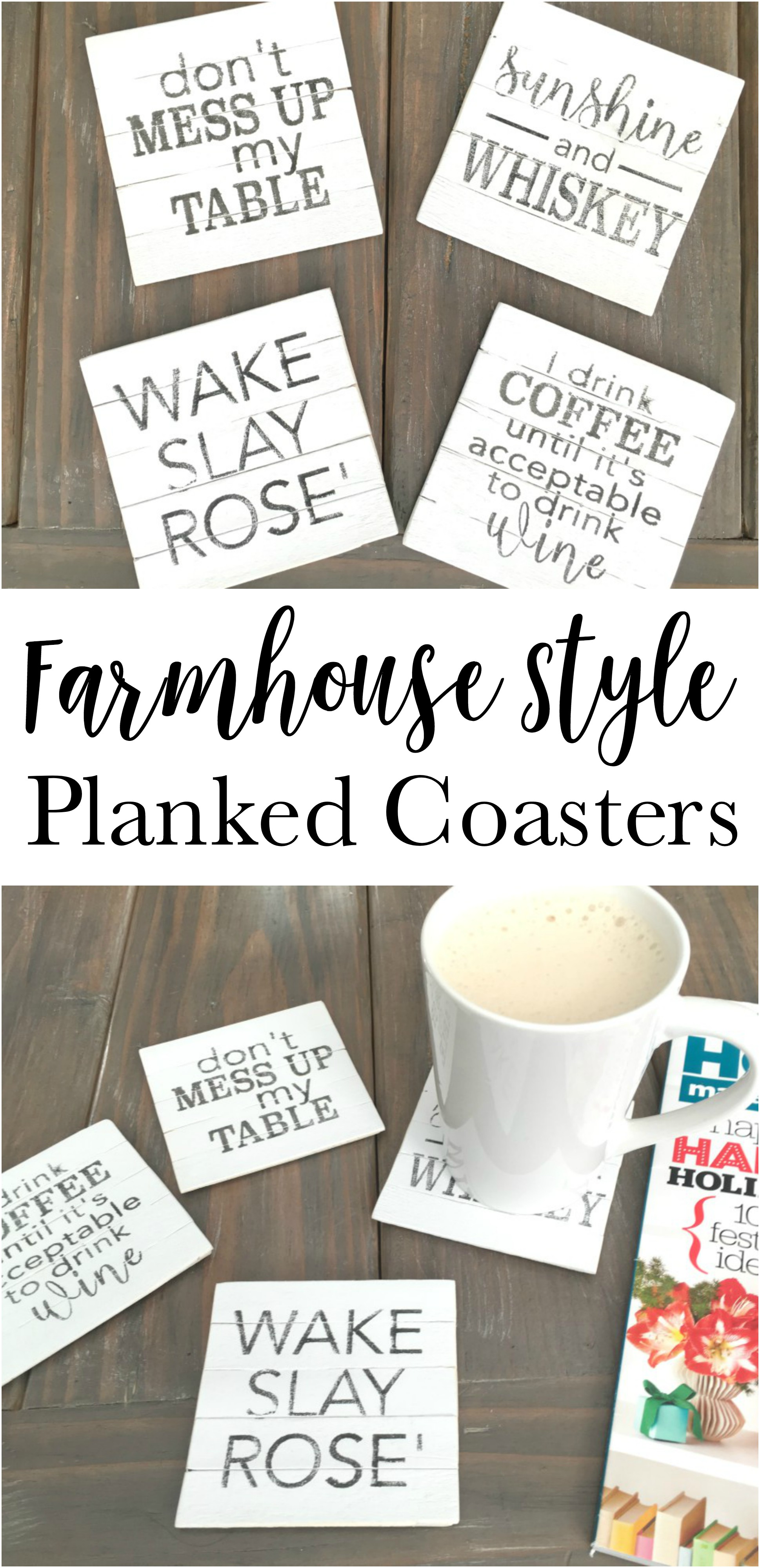 Make your own Farmhouse Style Planked Coasters out of craft wood sticks. Free graphic images.