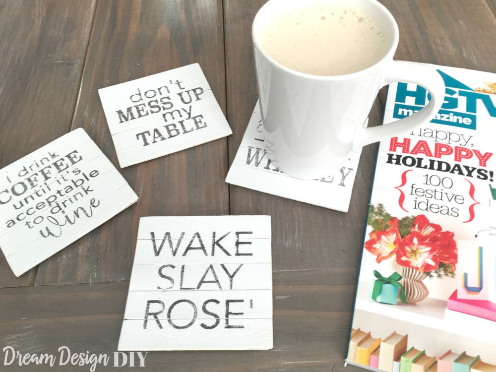 DIY Farmhouse Style Planked Coasters with FREE Graphics - Dream