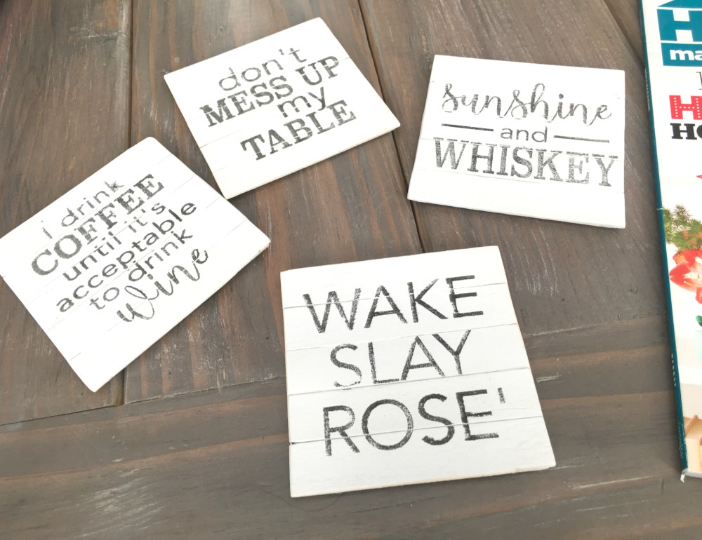 DIY Farmhouse Style Planked Coasters with FREE Graphics