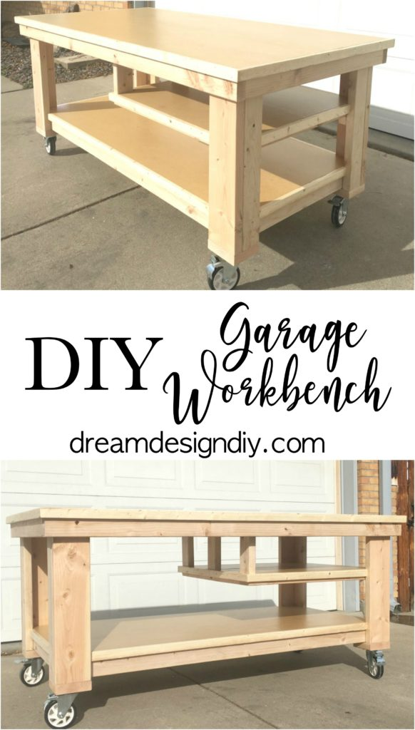 Make your own garage workbench. This piece gives you space to do your projects and organize and store your tools as well. #garageworkbench #diygarageworkbench