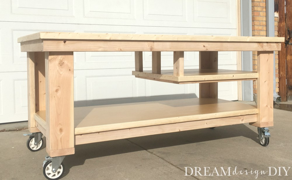 This DIY Garage Workbench is the perfect mobile, multifunctional build to organize your garage and complete your projects all in one space.