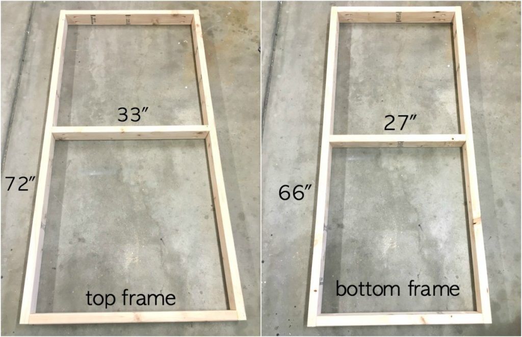 Top and bottom frames assembled with measurements of DIY garage workbench.