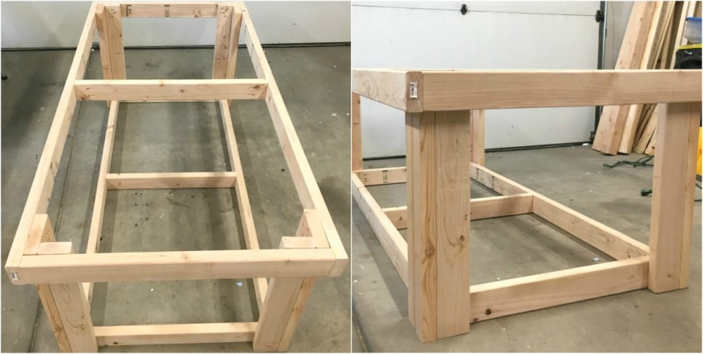 DIY garage workbench with top and bottom frames attached to legs