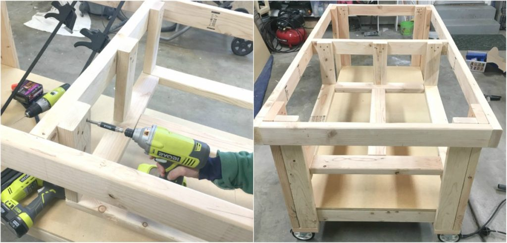 Attaching the middle shelf to the frame of the garage workbench.