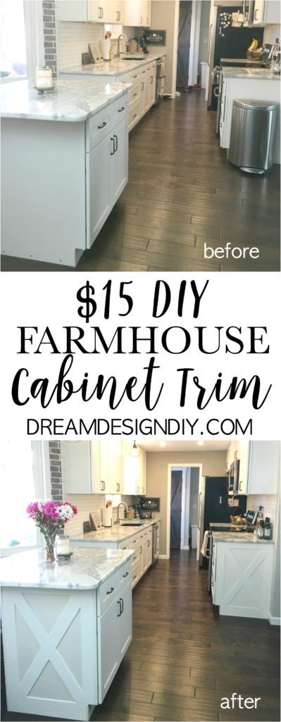 Does your kitchen lack character? This post shows you how to easily add farmhouse trim to your kitchen cabinets for $15. #farmhouse #farmhousecabinettrim #farmhousekitchen