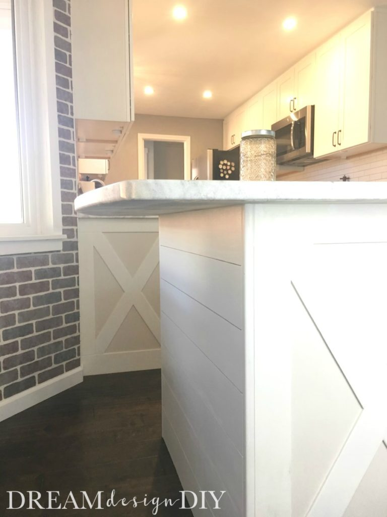 how to add shiplap to a kitchen island easy budget friendly way to