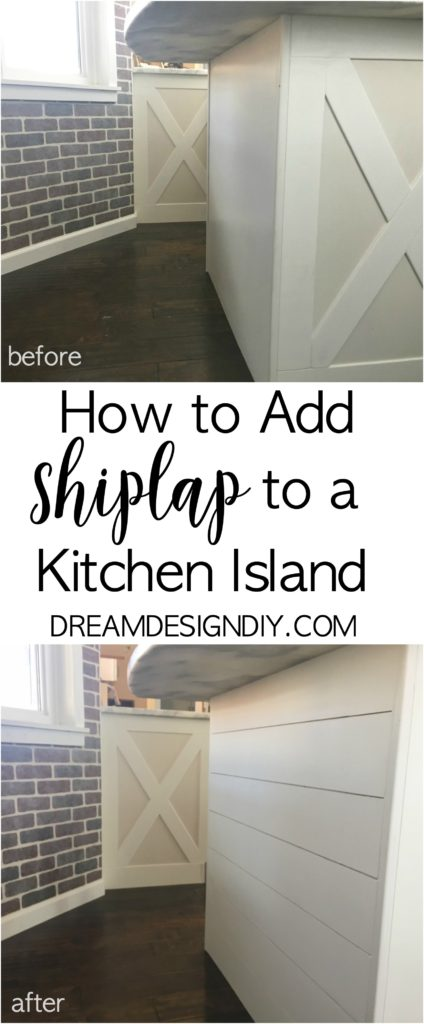 Adding shiplap to a kitchen island is an easy and affordable way to add character to your kitchen. Using a portion of a sheet of 1/4 inch plywood this projects costs less than $15.