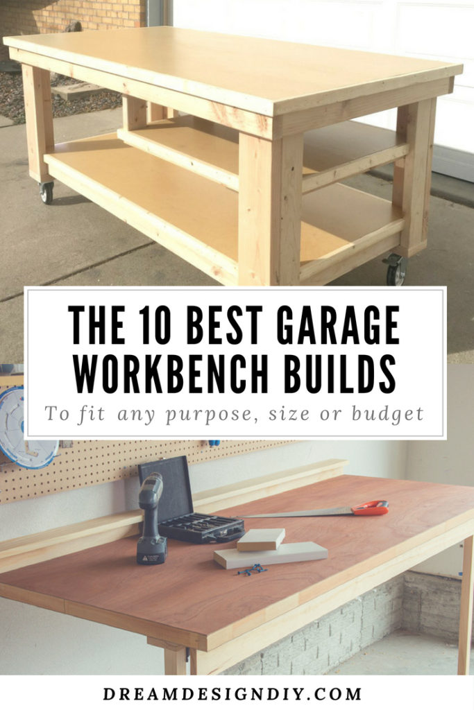 A superb selection of 10 DIY Garage Workbench projects to help you design and build the perfect workbench for your garage space. #garageworkbench #workbench #garageorganization