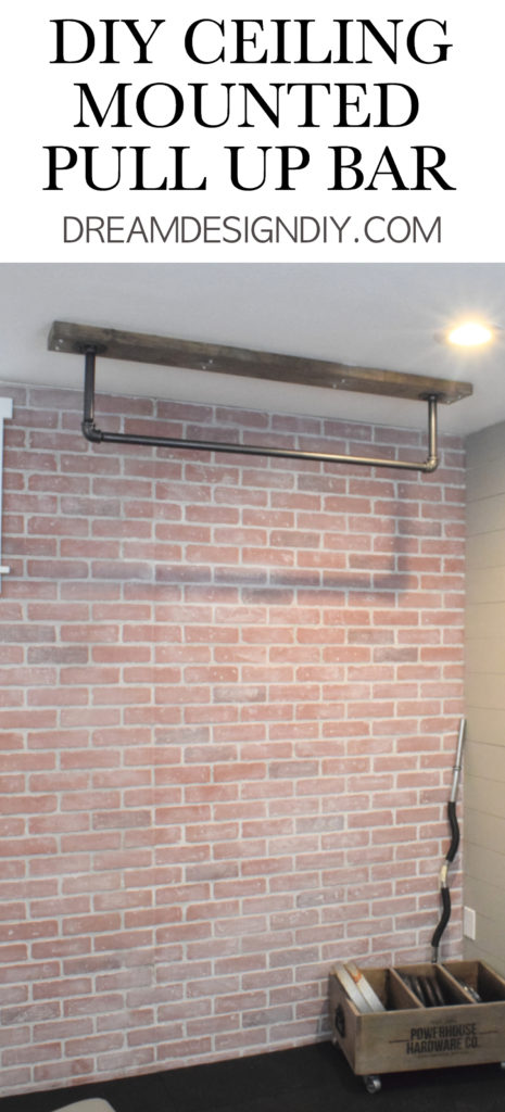 A ceiling mounted pull up bar is a perfect addition to a home gym. Here is a detailed tutorial to make your own.#pullupbar #ceilingmountedpullupbar #diypullupbar